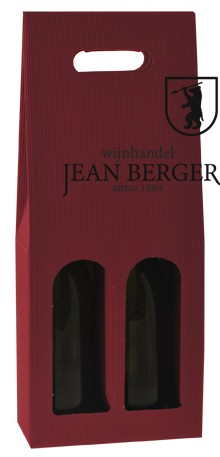 Draagdoos golfkarton rood (2-flessen)