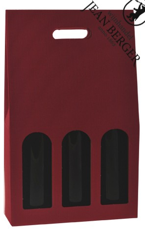 Draagdoos golfkarton rood (3-flessen)