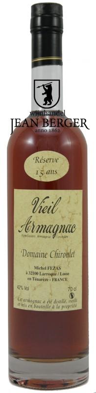 Vieil Armagnac Ténarèze, Réserve 15 Ans, Domaine Chiroulet (0,70 liter)